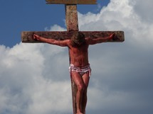 Jesus on the cross on Mount Calvary bleeding and dying for the sins of all mankind  - crucifixion