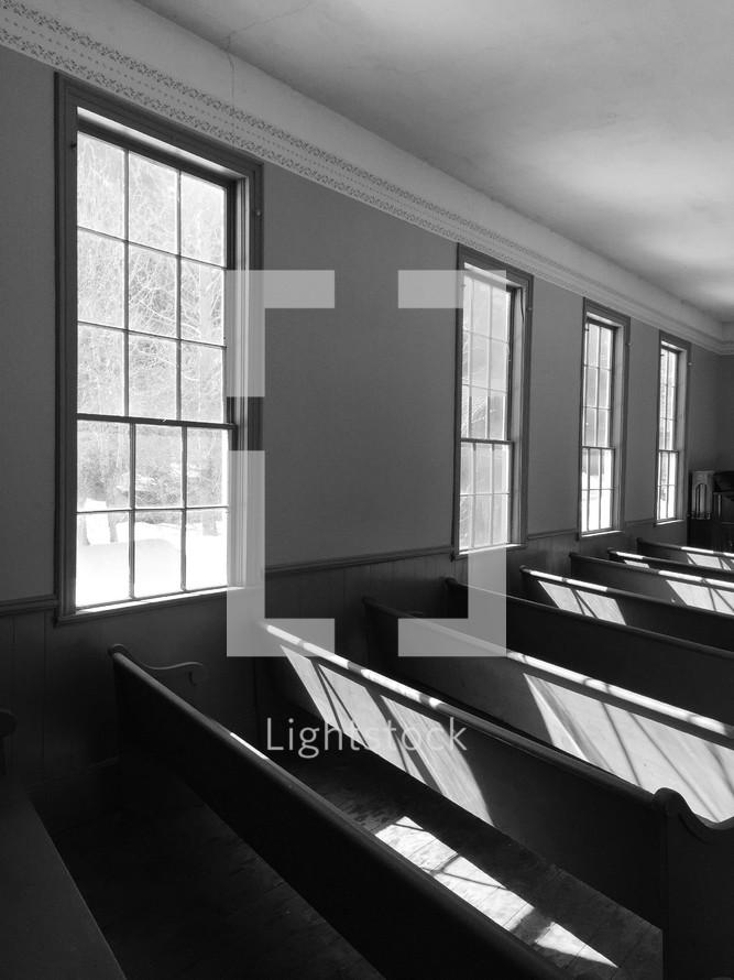 window and church pews