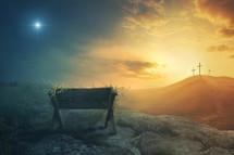 manger and Calvary crosses