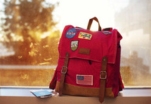 packed child's camping backpack