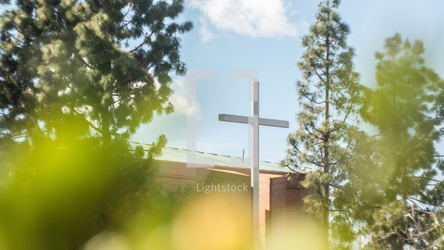 cross in front of a church