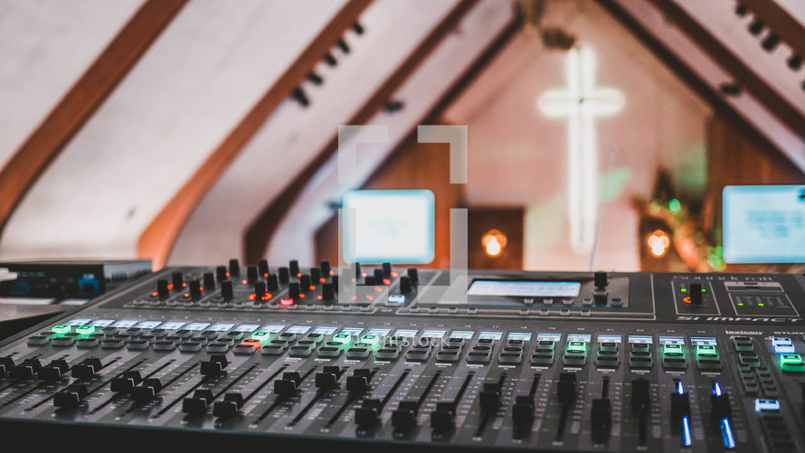 soundboard and view of a church altar