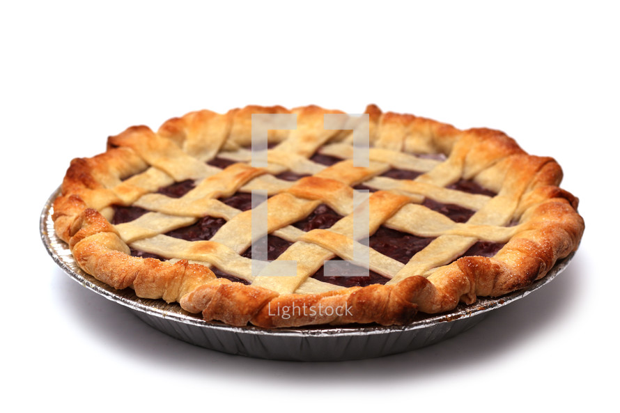 cherry pie and white background