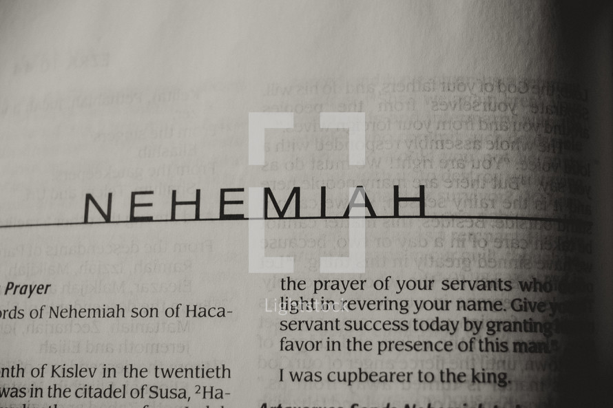 Open Bible in the bok of Nehemiah