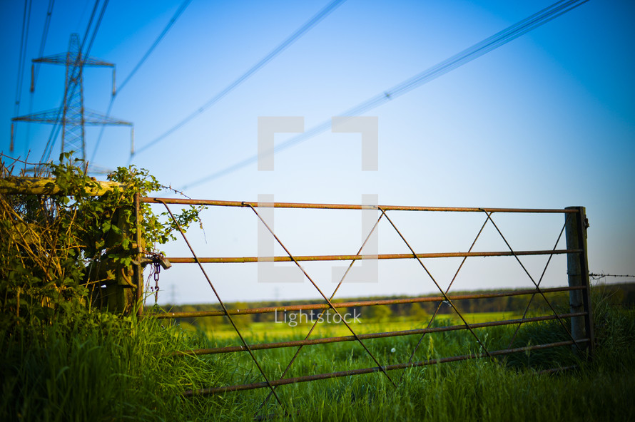 gate and power lines