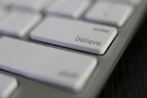 Believe key on a computer keyboard.
