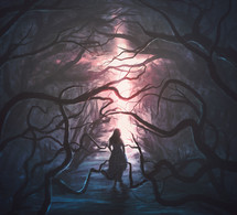 Woman in scary forest