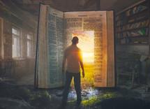 A man finds a doorway through an open Bible