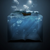 a man in a boat anchored to the Bible