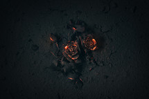 glowing red ashes in the shape of a rose