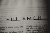 Open Bible in book of Philemon