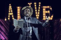 man delivering spoken word