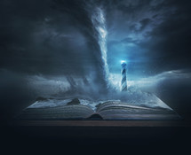 A big storm and tornado on top of the pages of a Bible with a bright lighthouse