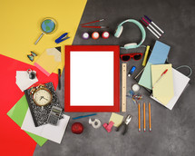 scattered school supply background