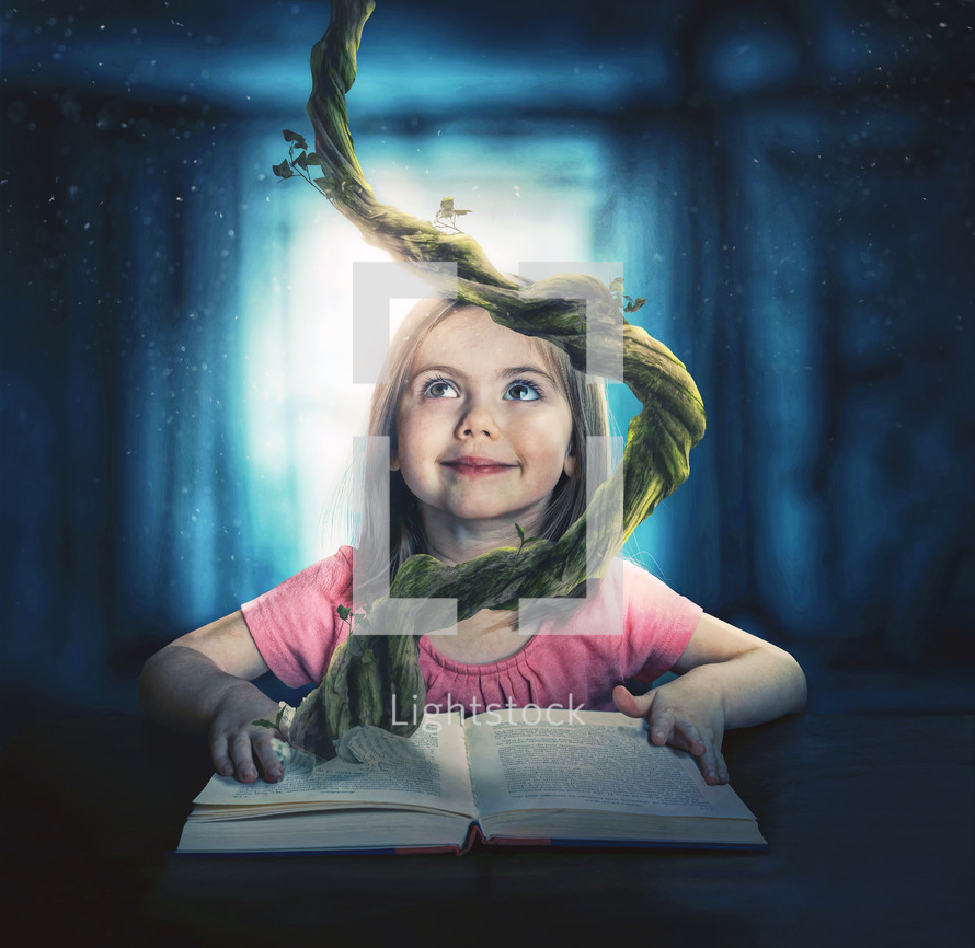 A child reads a story and uses her imagination to get into the story