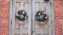 Christmas wreaths on wood doors