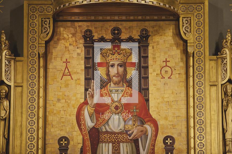 An altar with European-influenced art