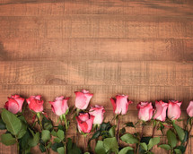 roses on a wood floor