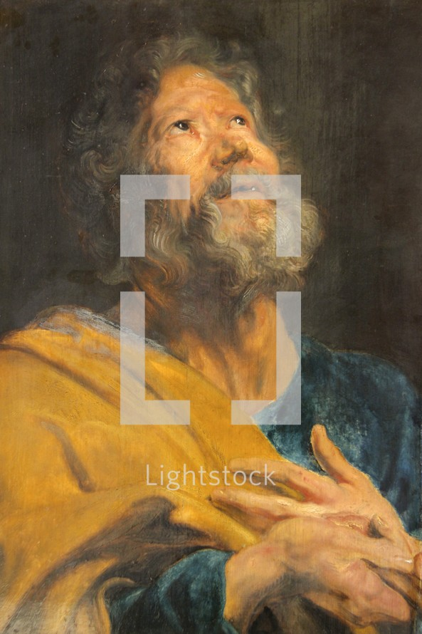 Painting of St Peter, looking to God