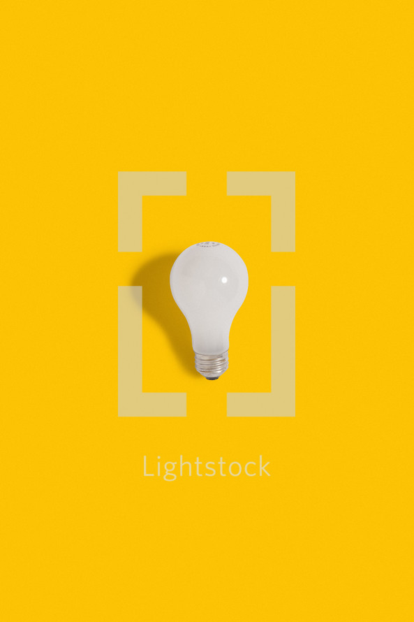 lightbulb on a yellow background.