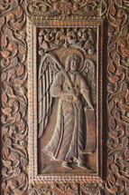 Decorative wood carved panel.