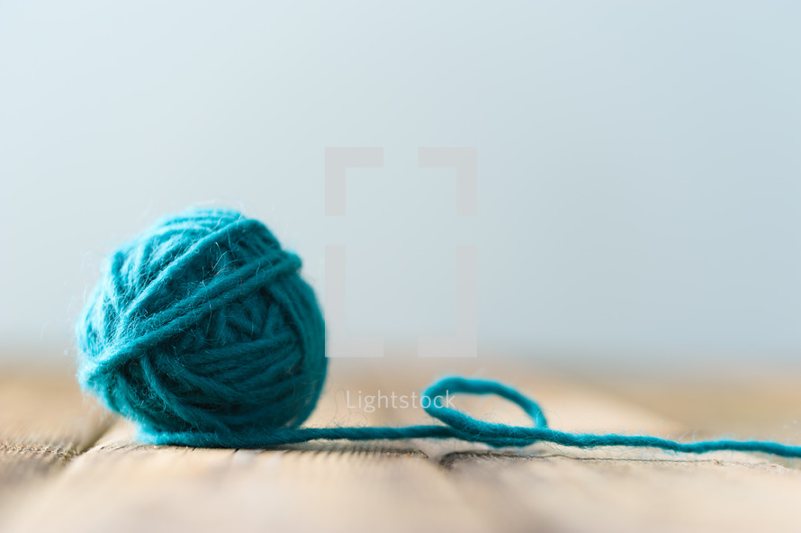 ball of blue yarn
