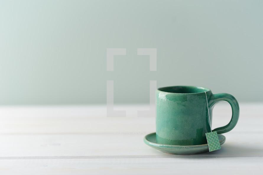 teal tea mug