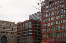 brick buildings in a city