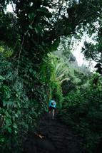 woman hiking through a jungle