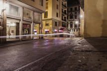 streaks of lights on the streets of Rome at night