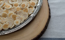communion wafers in a tray