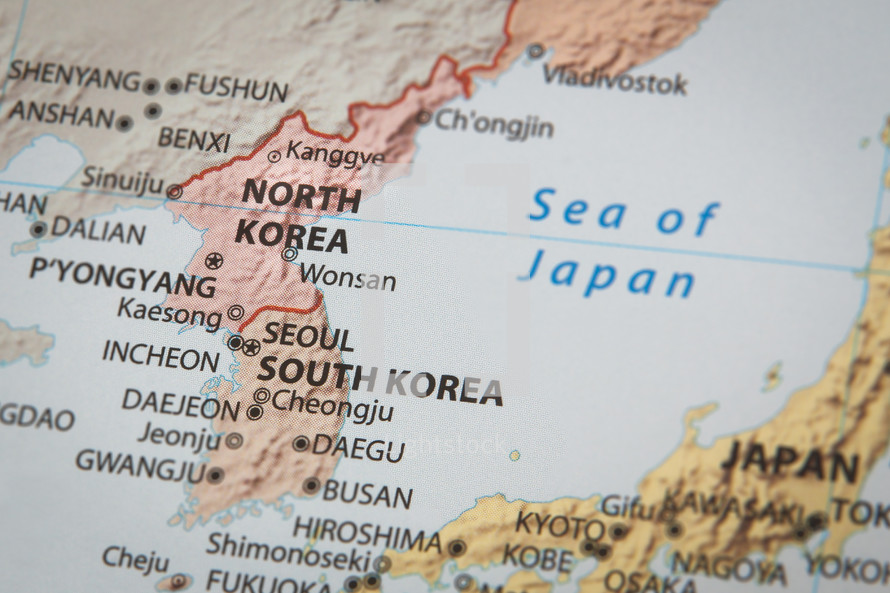North Korea and South Korea on a map