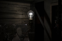 glowing lightbulb in a lamp