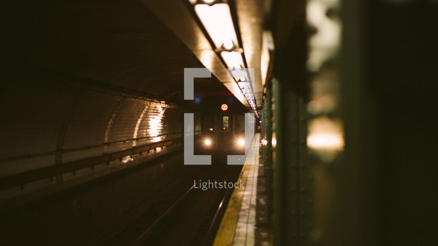 Subway train approaching platform