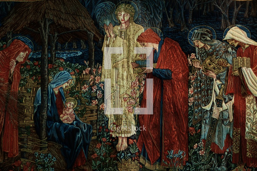 A tapestry of baby Jesus and Mary receiving gifts