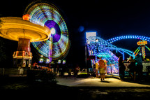 lights at night at a fair