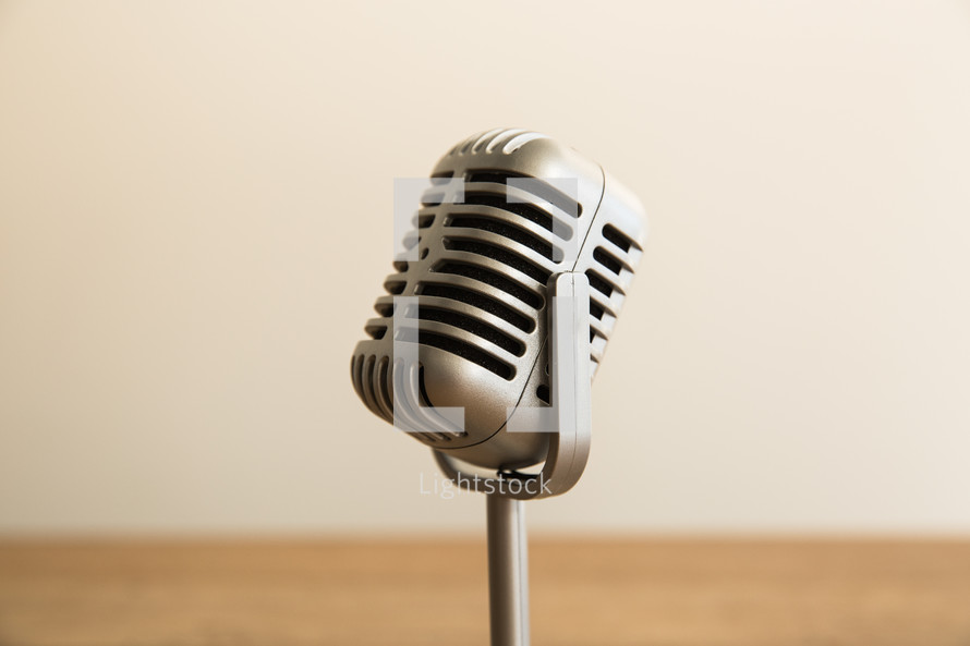 Retro microphone on a table.