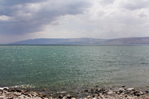 The Sea of Galilee with mountains in the background.