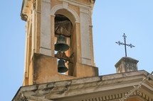 ancient bells in a bell tower in Italy