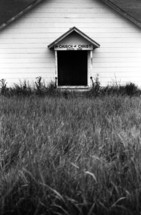 "an abandoned church ""The Church of Christ"""
