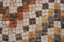 Close up of mosaic displayed at Mt Nebo, where Moses died, in Jordan