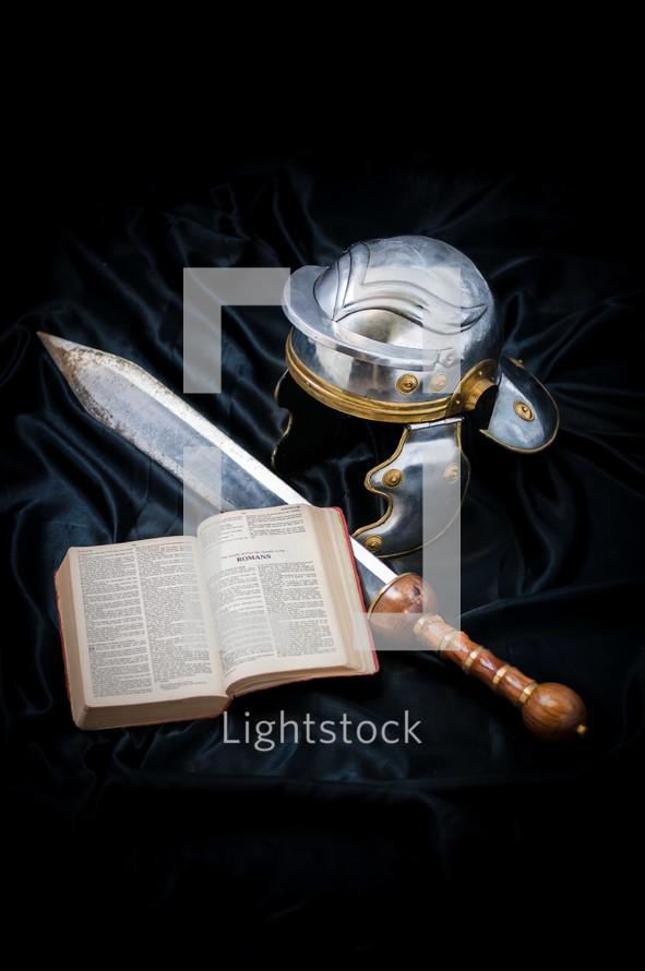 sword, armor, open Bible, Romans, soldier