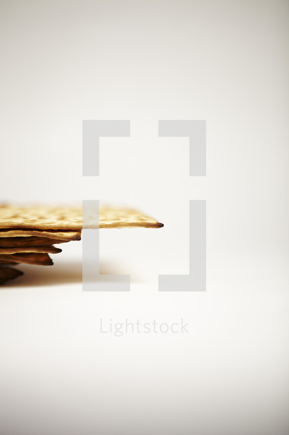Unleavened crackers isolated on white