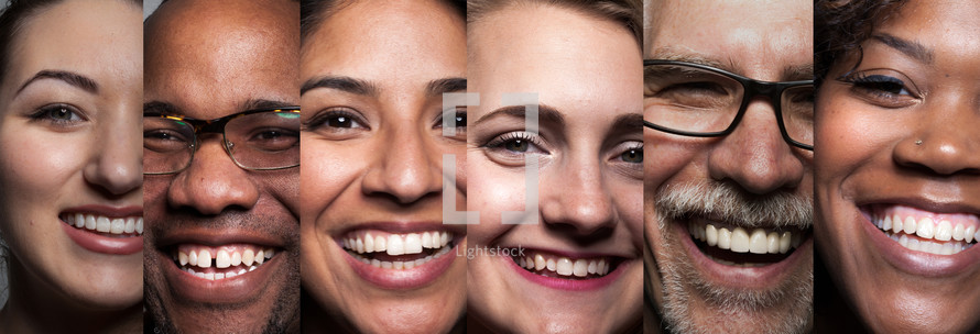 Close-up portraits of six smiling people.