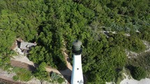 Cinematic parallax view of a lighthouse against the trees and sky
