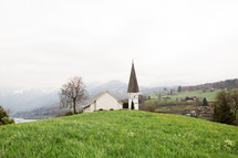 a white rural church in Switzerland