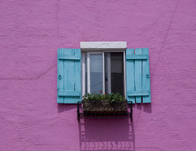 Blue and white window with flower box on bright pink wall