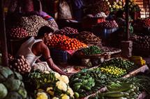 produce in a market in Nepal