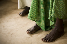 A woman with bare feet