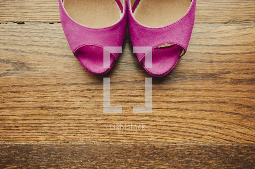 A pair of pink high heels